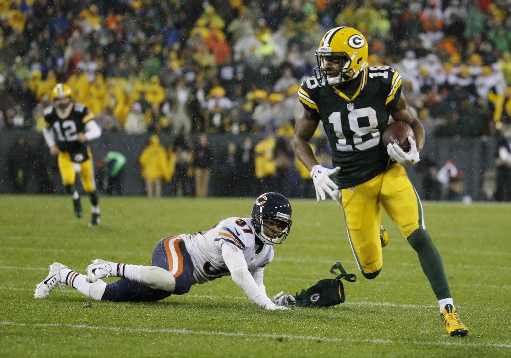 Green Bay Packers' Randall Cobb runs during the second half of an NFL football game against the Chicago Bears Thursday, Nov. 26, 2015, in Green Bay, Wis. (AP Photo/Morry Gash)