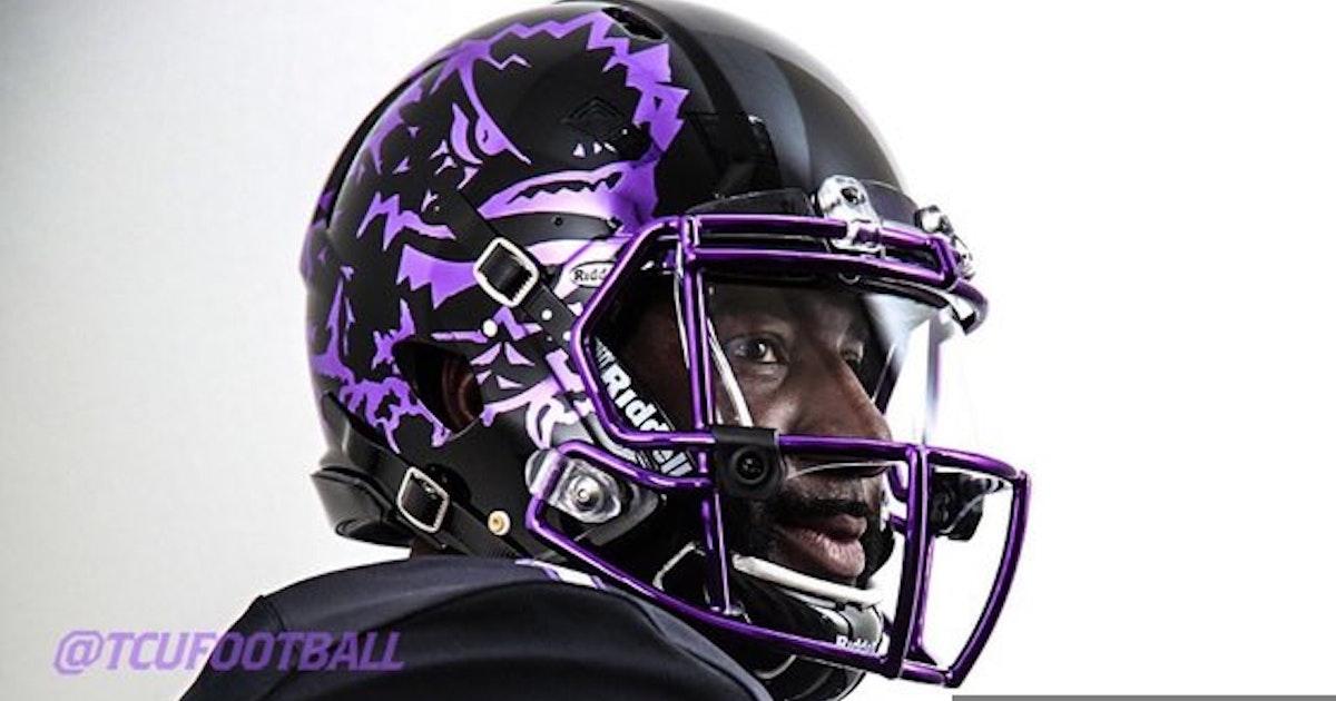 College Sports Tcu Unveils New Helmets For Blackout Game Against Ou  Sportsday 10e4fa4fb