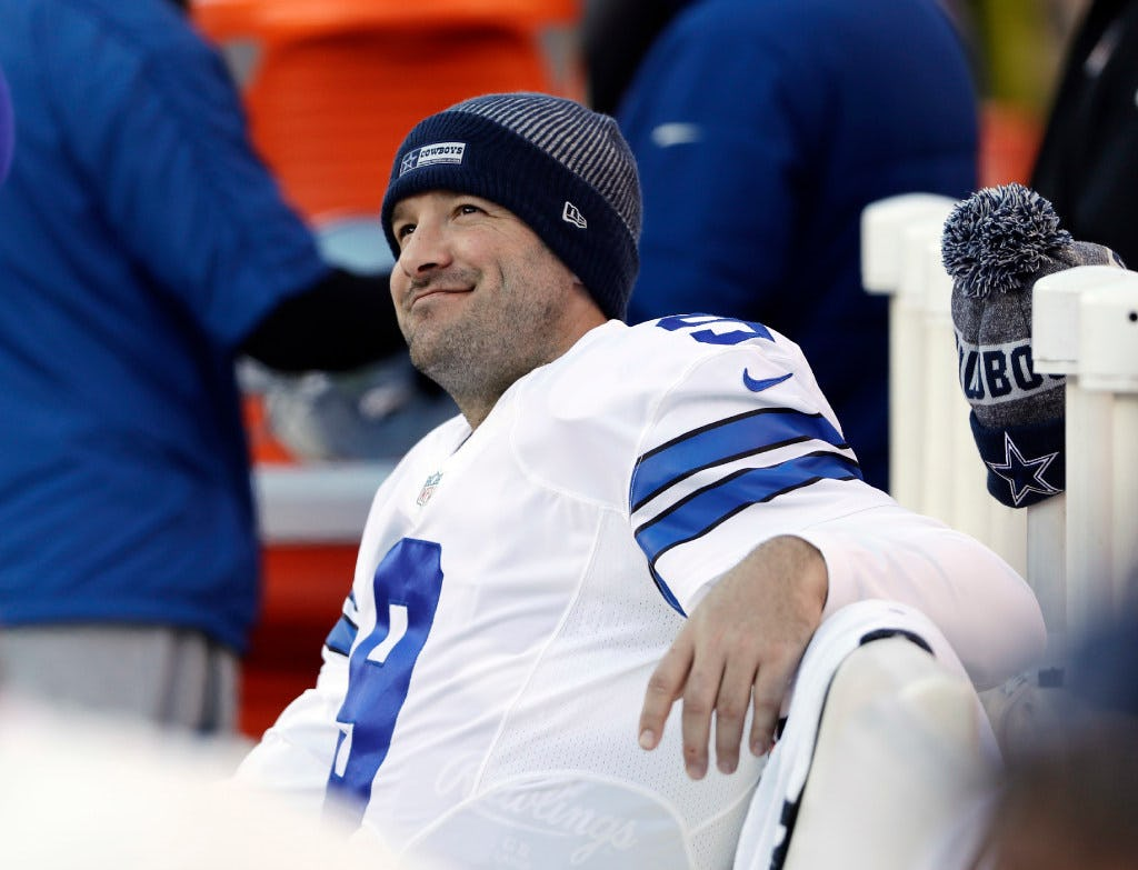 FILE - In this Jan. 1, 2017, file photo, Dallas Cowboys' Tony Romo smiles on the bench during the second half of an NFL football game against the Philadelphia Eagles in Philadelphia. Those closest to Romo on the Cowboys aren't ready to discuss the future of the Dallas quarterback, probably because they know the likely final answer. After 156 games, 34,183 yards passing and 248 touchdowns, Romo's career in Dallas appears over after he lost the job he held for 10 years to rookie sensation Dak Prescott following a preseason back injury. The question is, what's next. (AP Photo/Matt Rourke, File)