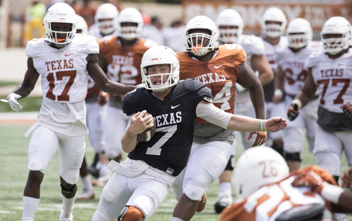 Tom Herman: 'No way' Shane Buechele has secured starting Texas QB job despite strong spring