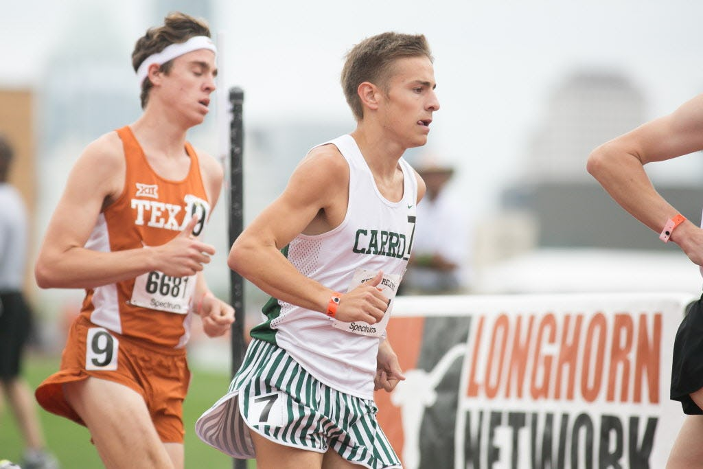 Southlake Carroll's Reed Brown, center, races with collegiate and Olympic athletes for the start of the Jerry Thompson Invitational Men's Mile during the 2017 Texas Relays at Mike A. Myers Stadium at the University of Texas at Austin, Texas on April 1, 2017. Brown placed fourth with a time of 4:03.23. (Julia Robinson/Special Contributor)