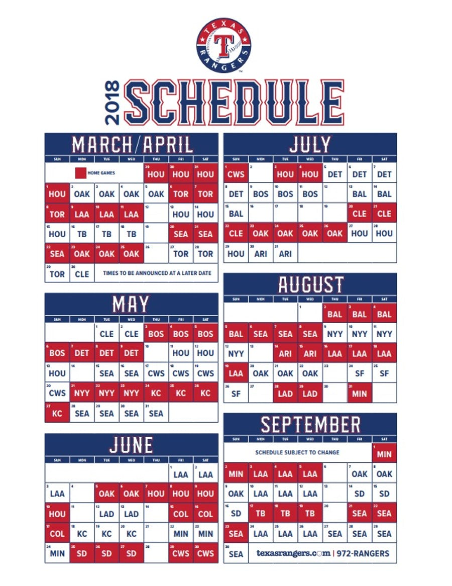 Shocking image throughout texas rangers schedule printable