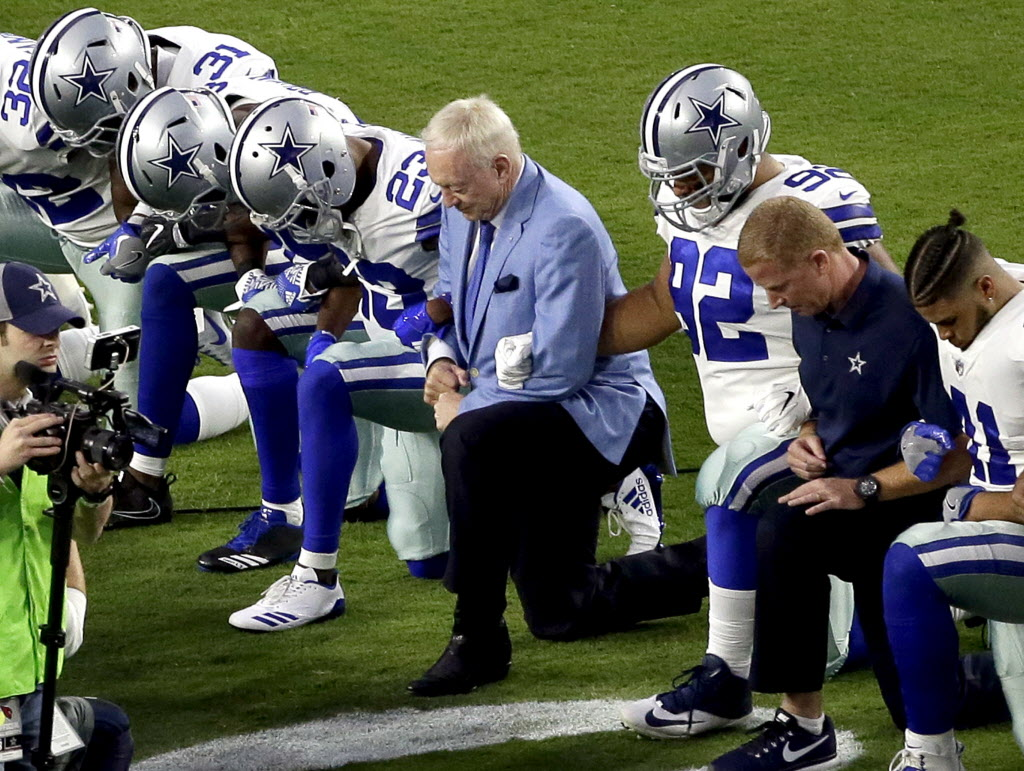 10026e47372f6f Dallas Cowboys: Jerry Jones wanted to remove Cowboys from anthem debate;  here's how he did exact opposite | SportsDay