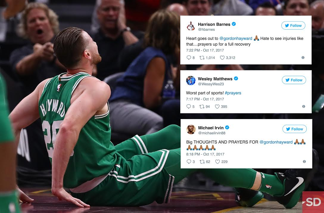 Worst Part Of Sports Dfw Athletes React As Celtics Gordon Hayward Goes Down With Gruesome Ankle Injury