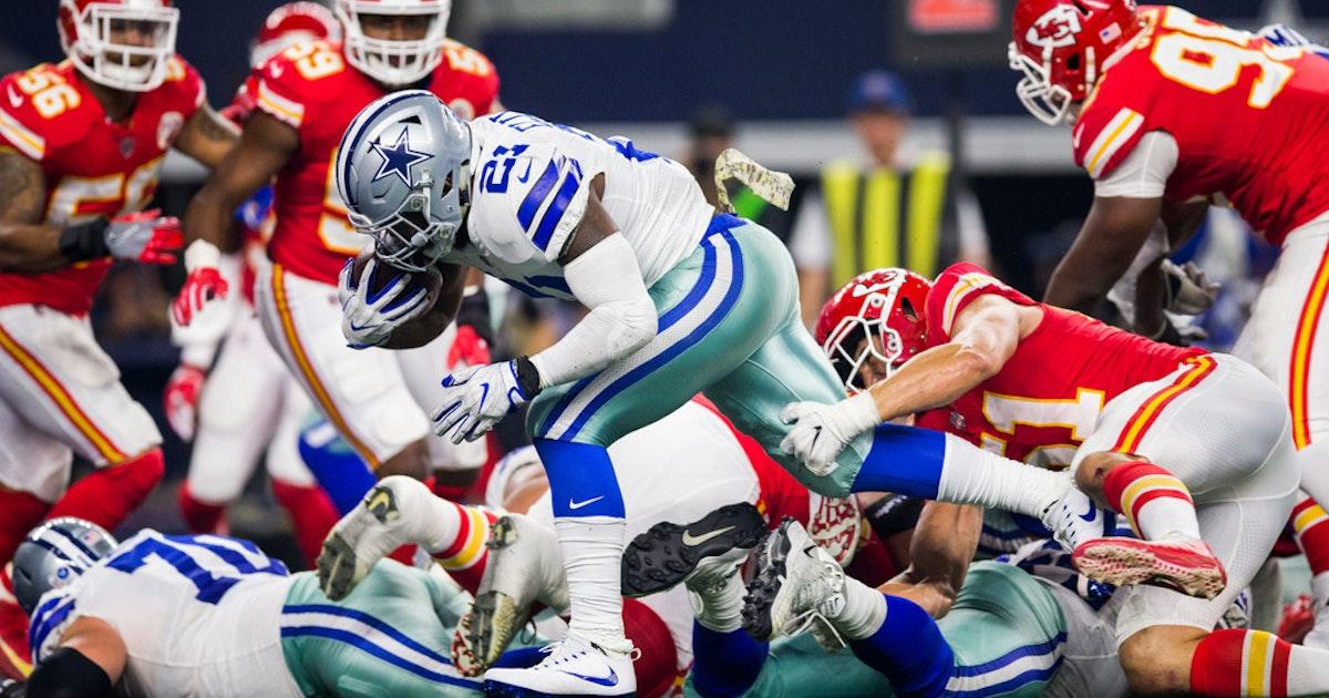 522127413 Dallas Cowboys  Recap  Ezekiel Elliott outshines Kareem Hunt as Cowboys win  third straight