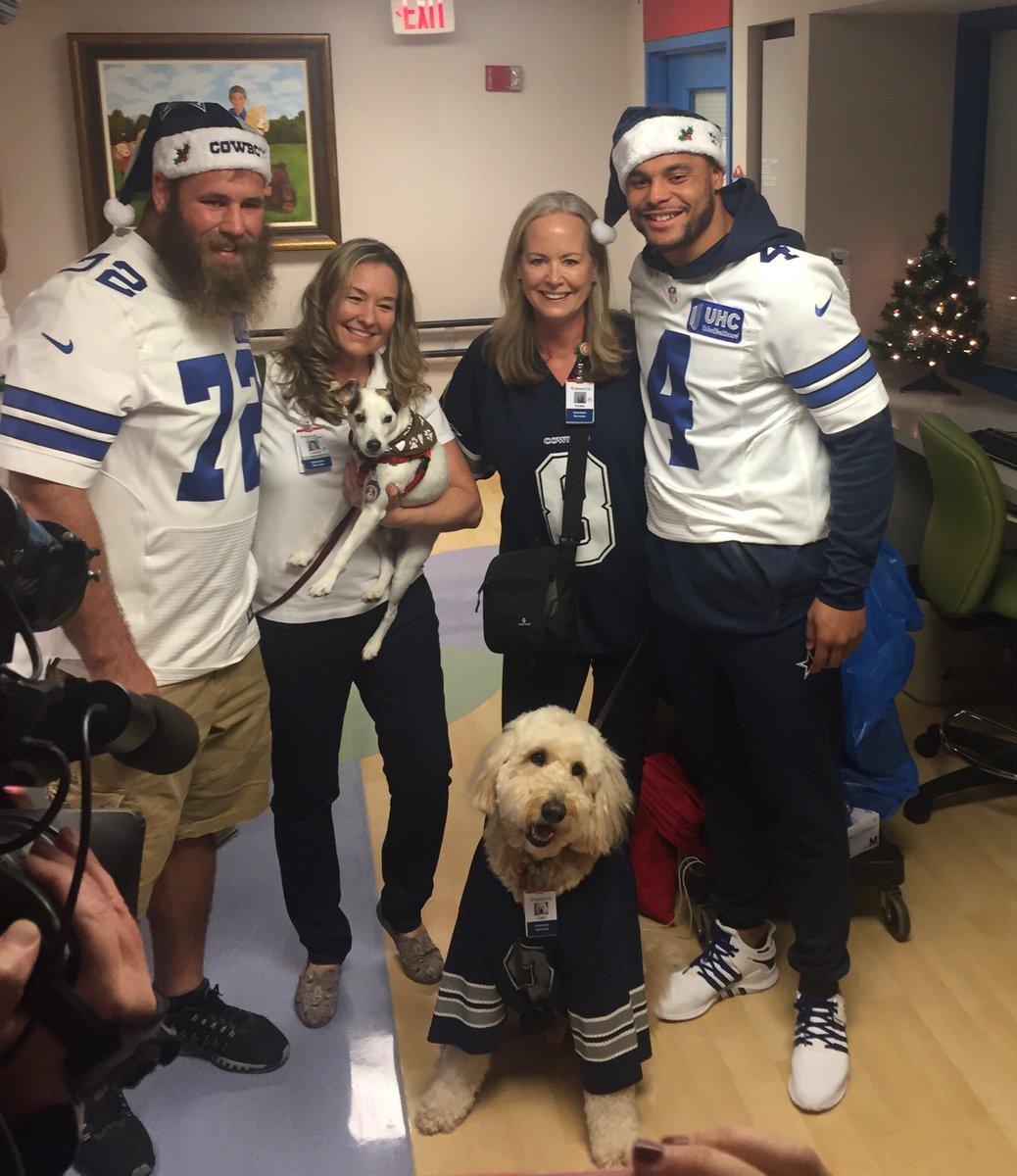 c84a52e8d01 Dallas Cowboys: Video: Cowboys visit local children's hospitals; Dak  Prescott gives update on his throwing hand | SportsDay