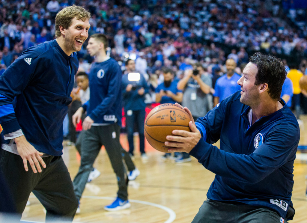 Dirk Nowitzki's 40th birthday bash included old teammates, Tony Romo, and a performance from Busta Rhymes