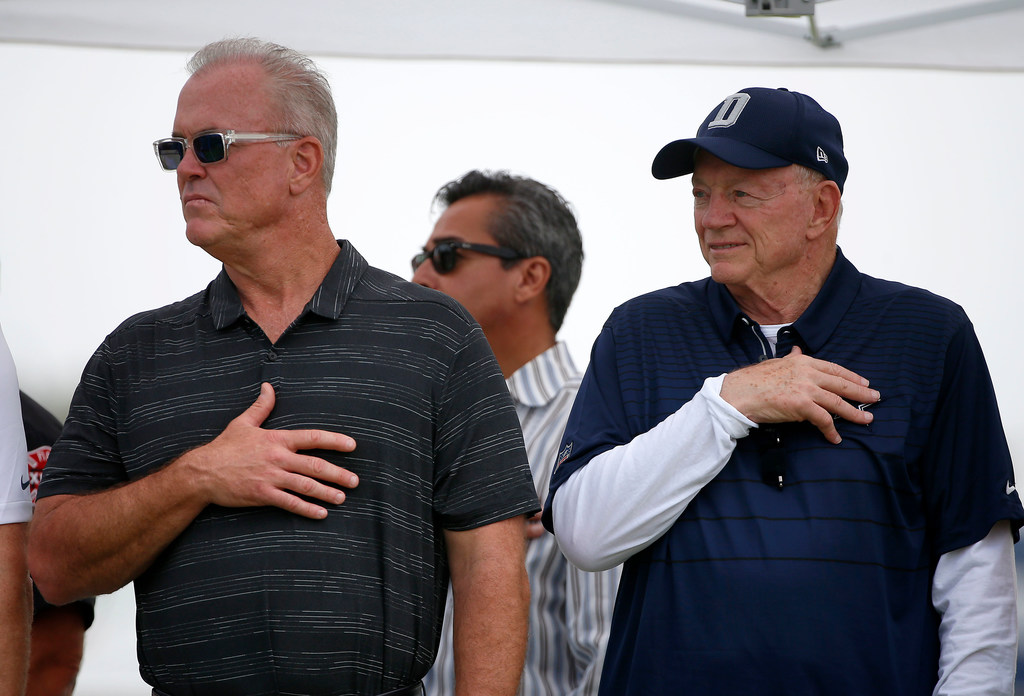 Cowboys owner Jerry Jones declines comment on leaving his hat on during national anthem