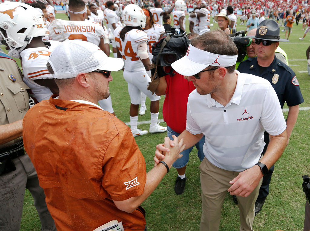 Texas coach Tom Herman on OU DC Mike Stoops' firing: 'All of the stuff that happens across the nation is pretty irrelevant'