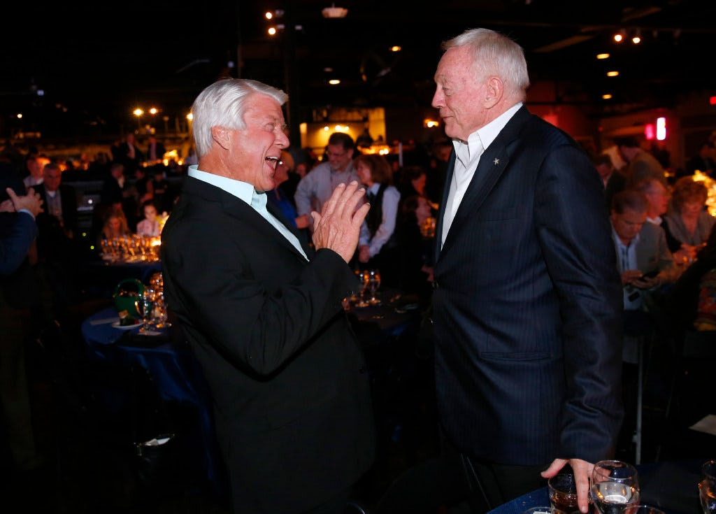 Smiling Jimmy Johnson remains silent while Fox colleagues Terry Bradshaw and Michael Strahan rip Cowboys owner Jerry Jones