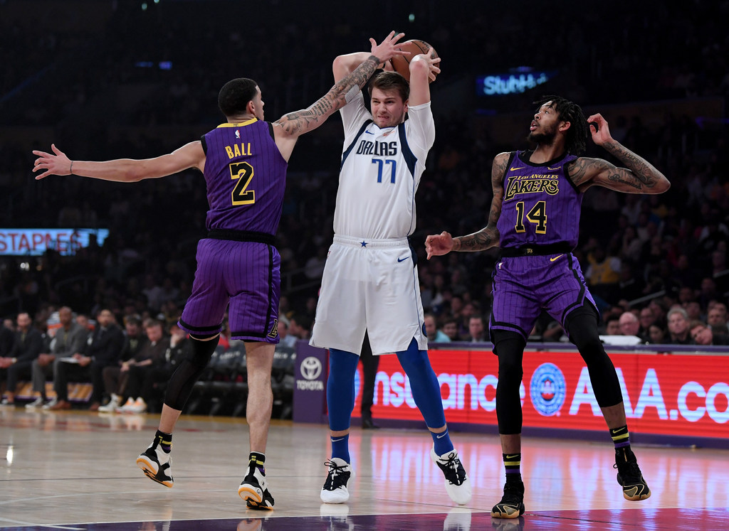 62d7a3187de Dallas Mavericks: WATCH: Mavs rookie Luka Doncic adds to highlight reel  with blocks on LeBron James, Dirk impression vs. Lakers | SportsDay