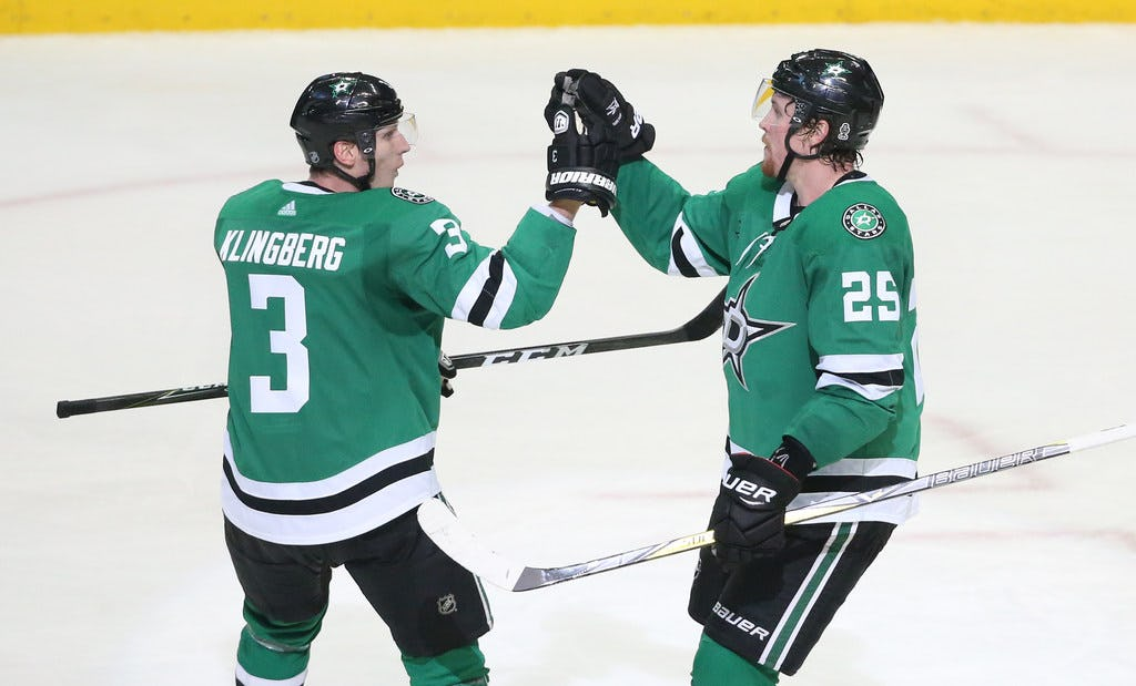 Early Christmas gift? Stars' Jim Montgomery gives potential return date for John Klingberg, Connor Carrick