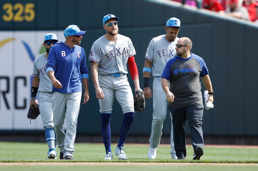 Rangers OF Hunter Pence heads to IL with groin strain, Willie Calhoun activated for series opener against Cleveland