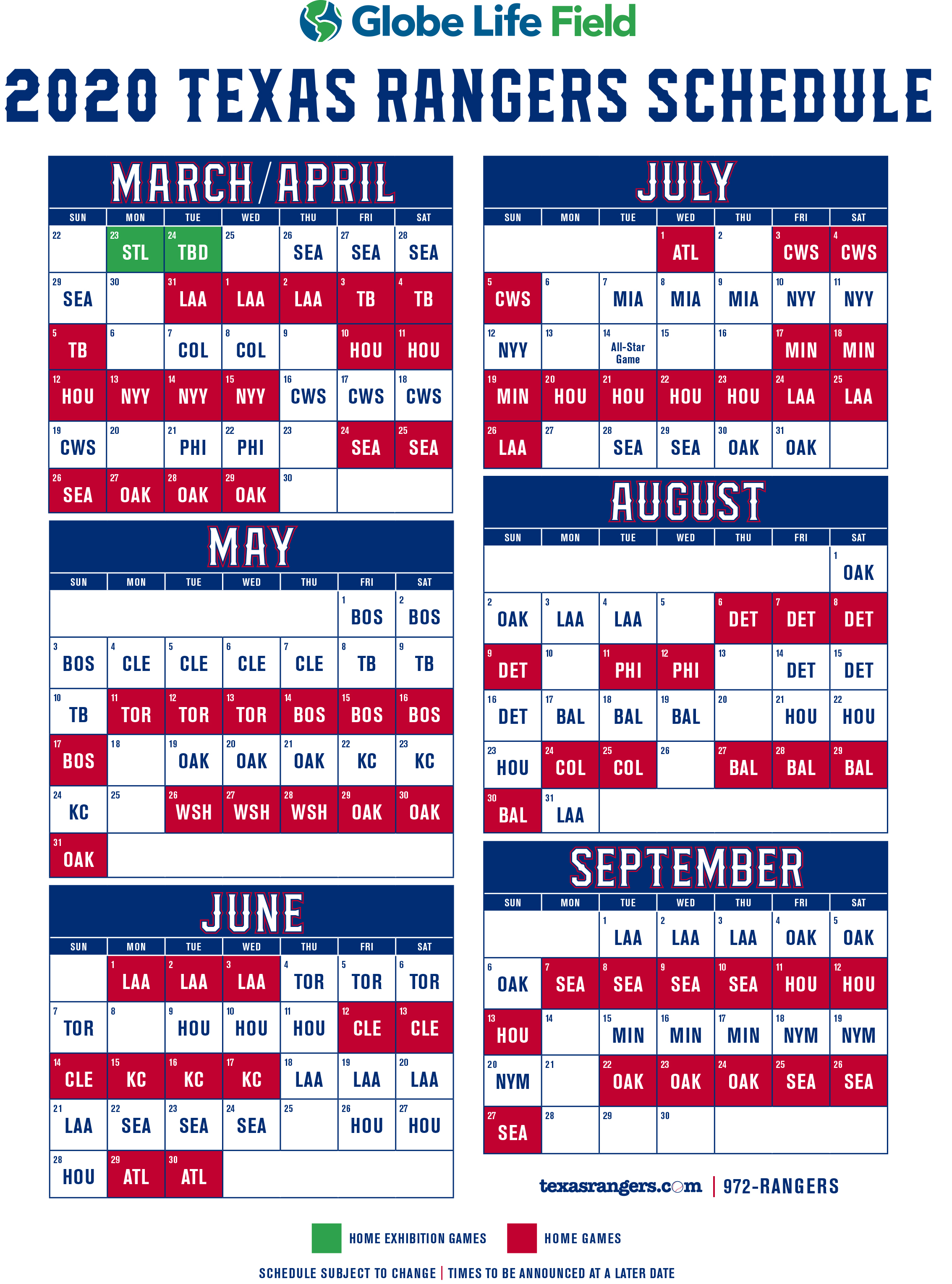 Mlb 2020 Schedule.Texas Rangers 2020 Schedule Released New Stadium To Be